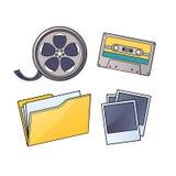 Massmedia kassett, film, mapp, bilder Arkivbilder