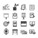 Massmedia och advertizingsymbolsuppsättning royaltyfri illustrationer