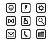 Massmedia och cell- musik för telefon noterar symbollogo och symbolstempl royaltyfri illustrationer