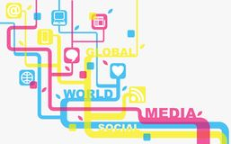 Massmedia och social bakgrund Arkivbilder