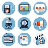 Massmedia sänker symboler för rengöringsduk- och mobilapplikationer Arkivbilder