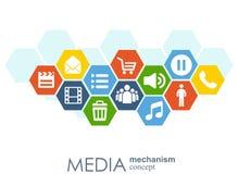 Massmediamekanismbegrepp Klumpa ihop sig abstrakt bakgrund för tillväxt med inbyggd meta, symbolen för digitalt, strategi, intern Royaltyfri Illustrationer