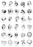Massmediasymboler knäppas på. Vektorillustration. vektor illustrationer