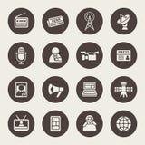 Massmediasymbolsuppsättning stock illustrationer