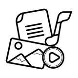 Massmediasymbolsvektor stock illustrationer