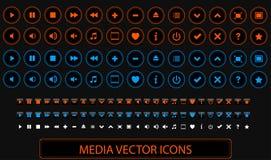 Massmediavektorsymboler Royaltyfria Bilder