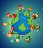 Massor av älvor på jord för julnatt Royaltyfri Foto