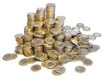 Massor av euromynt Arkivbilder