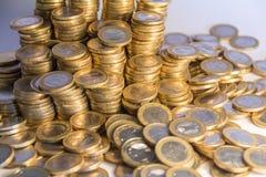 Massor av euromynt Royaltyfria Foton