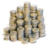 Massor av euromynt Fotografering för Bildbyråer