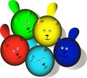 Massor av färgrika roliga katter royaltyfri illustrationer