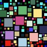 Massor av färgrika fyrkantiga former på svart Arkivfoton