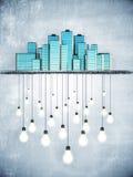 Massor av idéer i storstaden, idébegrepp Arkivbild