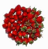 Massor av moget, nytt, saftigt, jordgubbar läggas i cirkeln som isoleras på vit bakgrund Arkivbilder