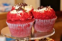 Massor av röd sammet för utsmyckade muffin Royaltyfri Foto