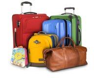 Massor av resande resväskor Arkivbild