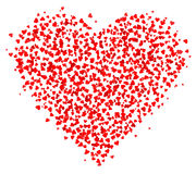 Massor av små röda hjärtor som komponeras i en hjärtaform, garnering för hälsningkort om förälskelse stock illustrationer
