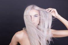 Massy rakt grått hår Arkivfoton
