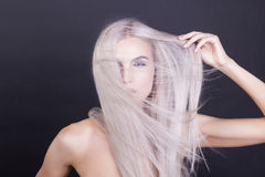 Massy straight grey hair. Studio shot Stock Photos