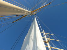 Mast. At cruising ship with shrouds Stock Photos