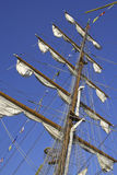 Mast. With lowered sails on a blue sky Royalty Free Stock Photos