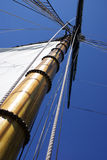 Mast. And sail of ship on Lake Michigan in South Haven Michigan Stock Photo