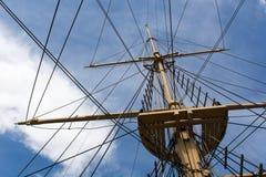 Mast of a big old sailing ship Stock Image