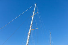 Mast of big white ship moored in port Stock Photography