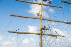 Mast on Clipper Ship with Flag at Top Stock Image