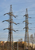 Mast and distribution of high voltage Royalty Free Stock Photos