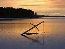 Mast of a drowned ship. In Lulea, Sweden Royalty Free Stock Photography