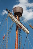 Mast with the foretop on sailboat Royalty Free Stock Photography