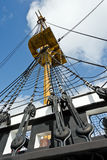 Mast of a frigate of the 18. Century Royalty Free Stock Images