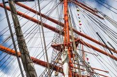 Mast historic sailing ship, close-up stock photo