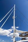 Mast of a large catamaran boat Stock Images