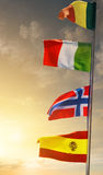 Mast med flaggor Arkivfoton
