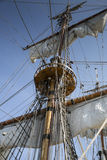 Mast of old and beatiful sailing ship Stock Photo