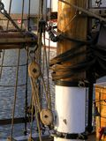 Mast on an old schooner Stock Photos