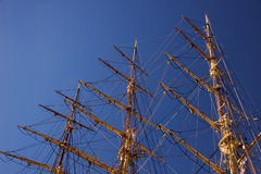 Mast on an old wooden sail ship Stock Photos