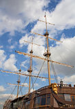 The mast is an old wooden ship Stock Photo