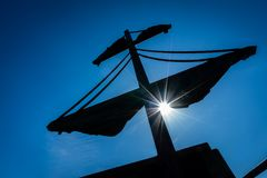 Mast of a pirate ship Royalty Free Stock Photo