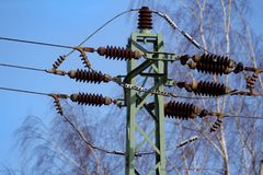 Mast of power distribution. Czech Republic Royalty Free Stock Photos