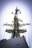 Mast and radar on battleship Stock Photo