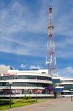 The mast of radio and  television transmitting station. GOMEL, BELARUS -  June 29: The mast of radio and  television transmitting station and contemporary Royalty Free Stock Photo