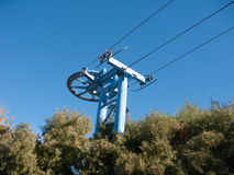 Mast and railing of Sky Ride System Royalty Free Stock Images