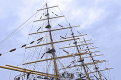 Mast and rigging of an old sailing vessel Royalty Free Stock Photo