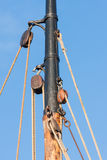 Mast and rigging from old wooden sailing ship Stock Photography