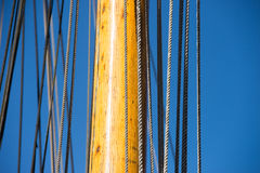 Mast, Rigging and Ropes of wooden sailing boat Stock Photos