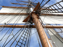Mast rigging and sail of tallship Stock Image