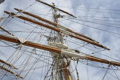 Mast and rigging on sailing ship Royalty Free Stock Photos
